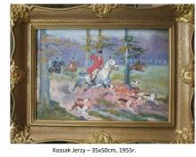 Kossak Jerzy - Polowanie, 1955r. , 35x50cm