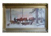Setkowicz Adam - Myśliwi w lesie zimą 44x94cm