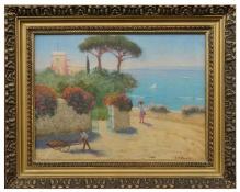 Archiwalne___Bratkowski Roman  (1869-1954) Pejzaż włoski że sztafażem
