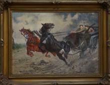 Batowski Stanisław Kaczor - 50x70cm - Konie poniosły  1943r. Lwów