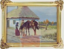Makowski Aleksander - Ułan i dziewczyna  - 25x35 cm