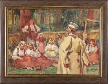 . Wodzinowski Wincenty (1860-1940), 50x70 cm Odpoczynek żniwiarzy