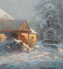 Korecki Wiktor (1897-1980) Zimą przed dworkiem