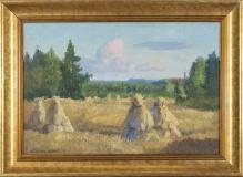 Korecki Wiktor (1897-1980) Snopki siana na polu 35x50cm